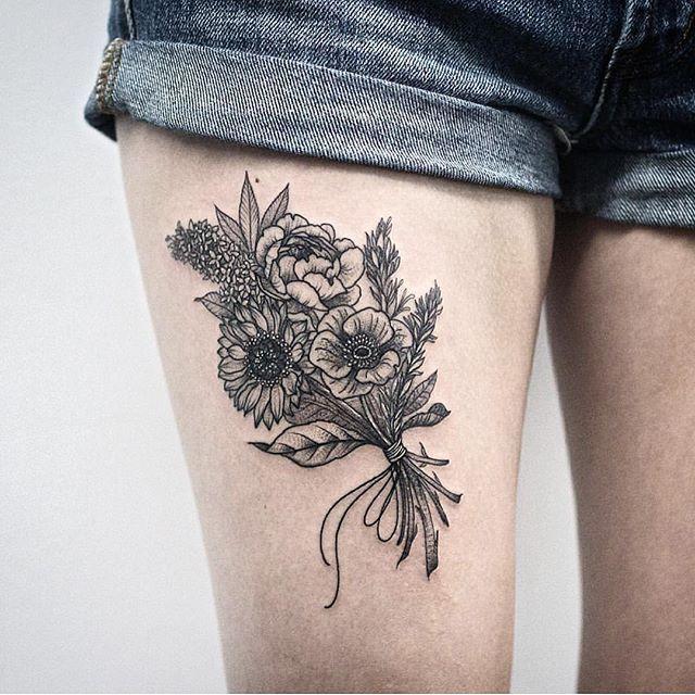 Mazzo Di Fiori Tatuaggio.Image Result For Small Flower Bouquet Tattoo Tatuaggi