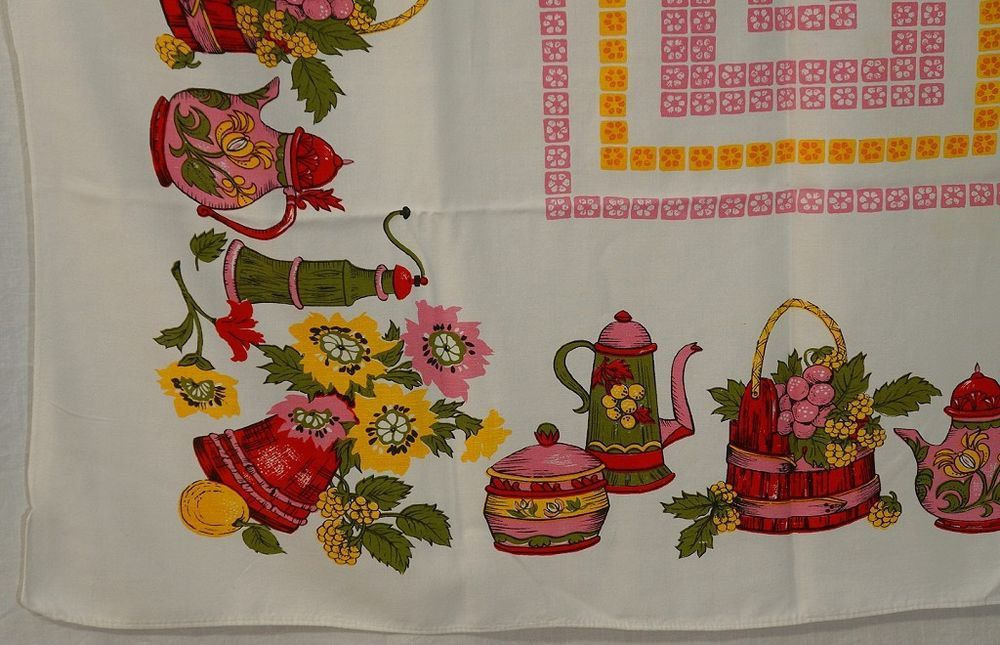 VTG PRINTED TABLECLOTH KITCHEN COFFEEPOT BUCKET TEAPOT PINK GREEN FLORAL