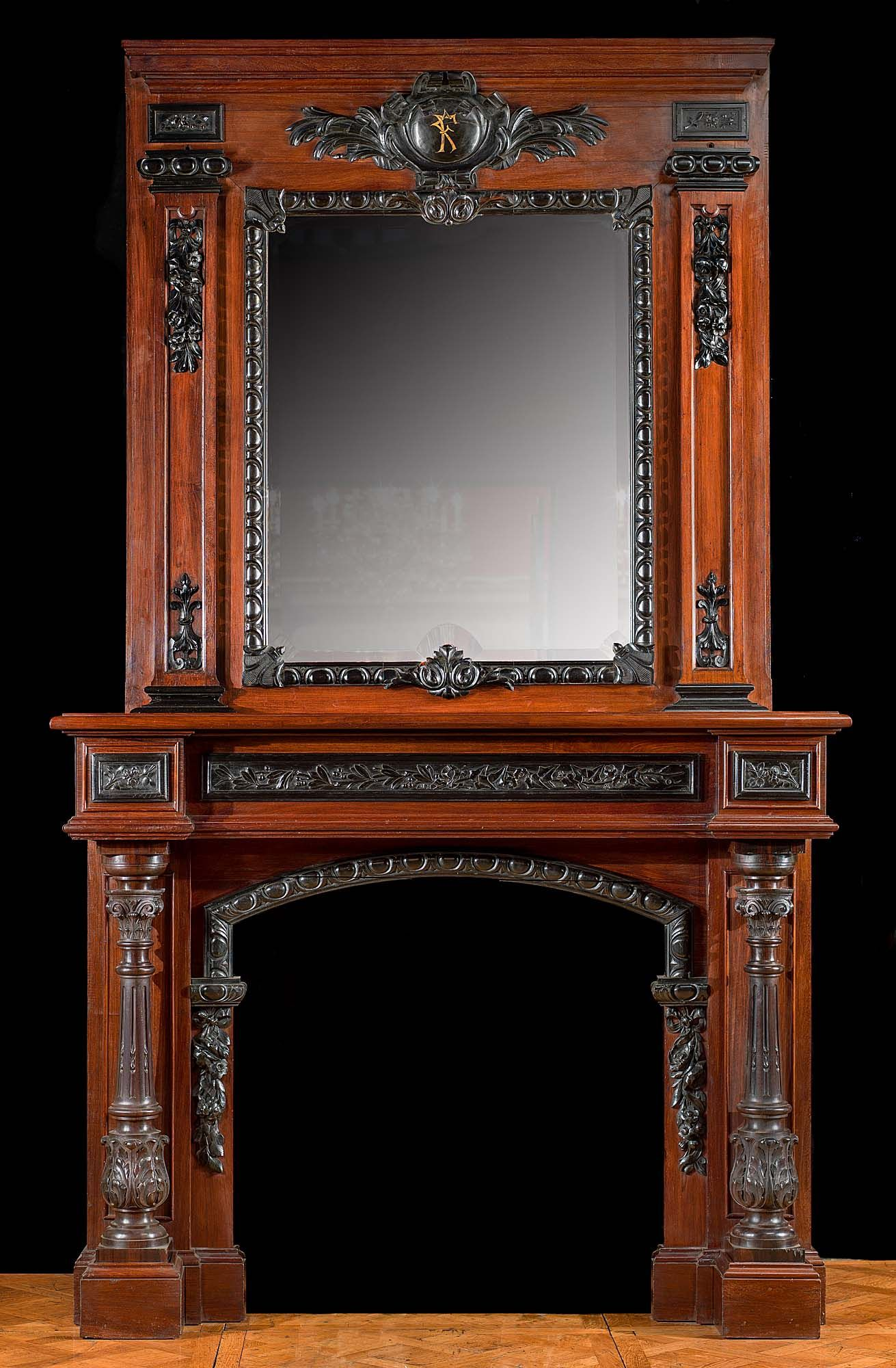 Tall French Baroque Mahogany Amp Ebony Fireplace Mantel