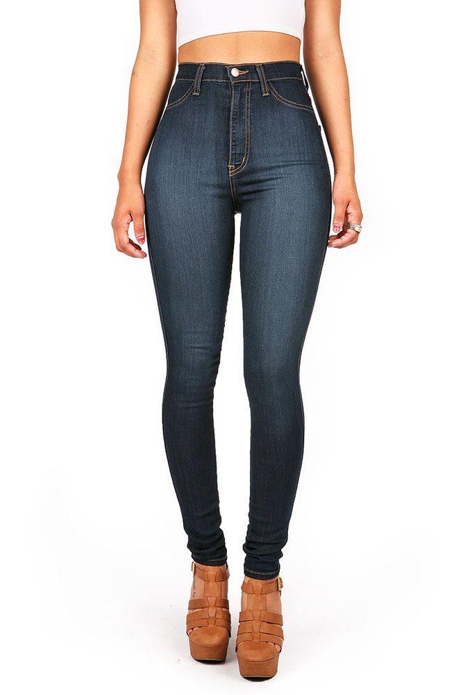 e2e0e649d17e Vibrant Denim High Waist Womens Skinny Jeans High Waisted Skinnys Long Pants  - Faux Front Pockets...:/, USA *49% Siro Rayon/ 33% Cotton/ 17% Polyester/ 1%  ...