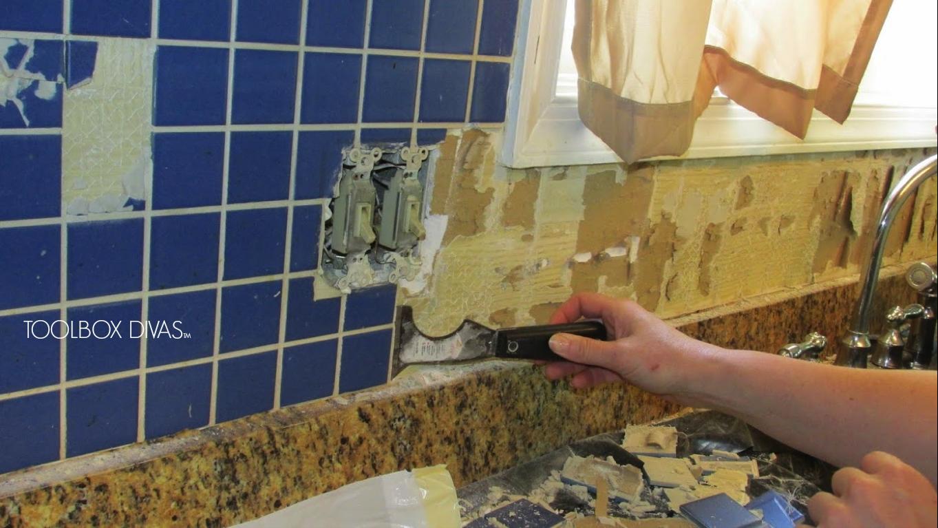 Learn How To Prep A Wall For A Tile Backsplash In 2020 Tile Removal Removing Bathroom Tile Remove Tile Backsplash