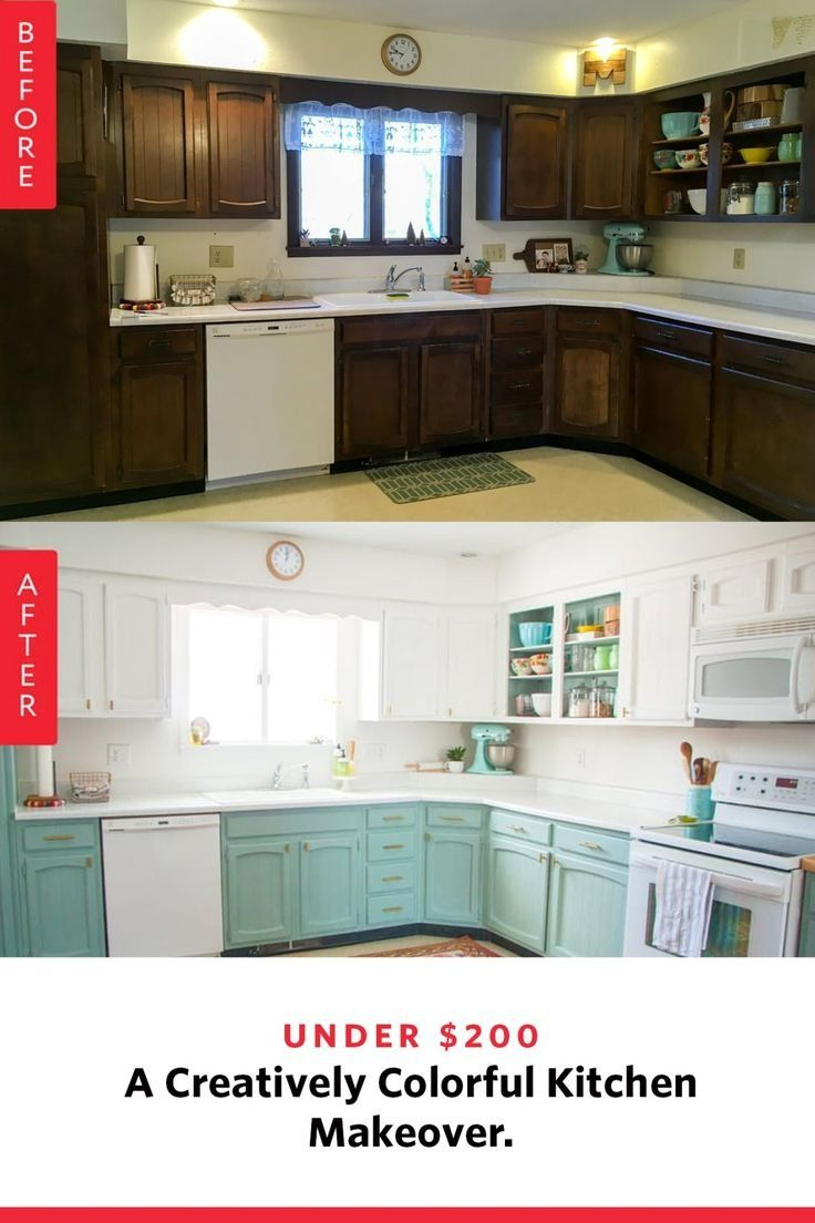 Before After An Under 200 Creatively Colorful Kitchen Makeover
