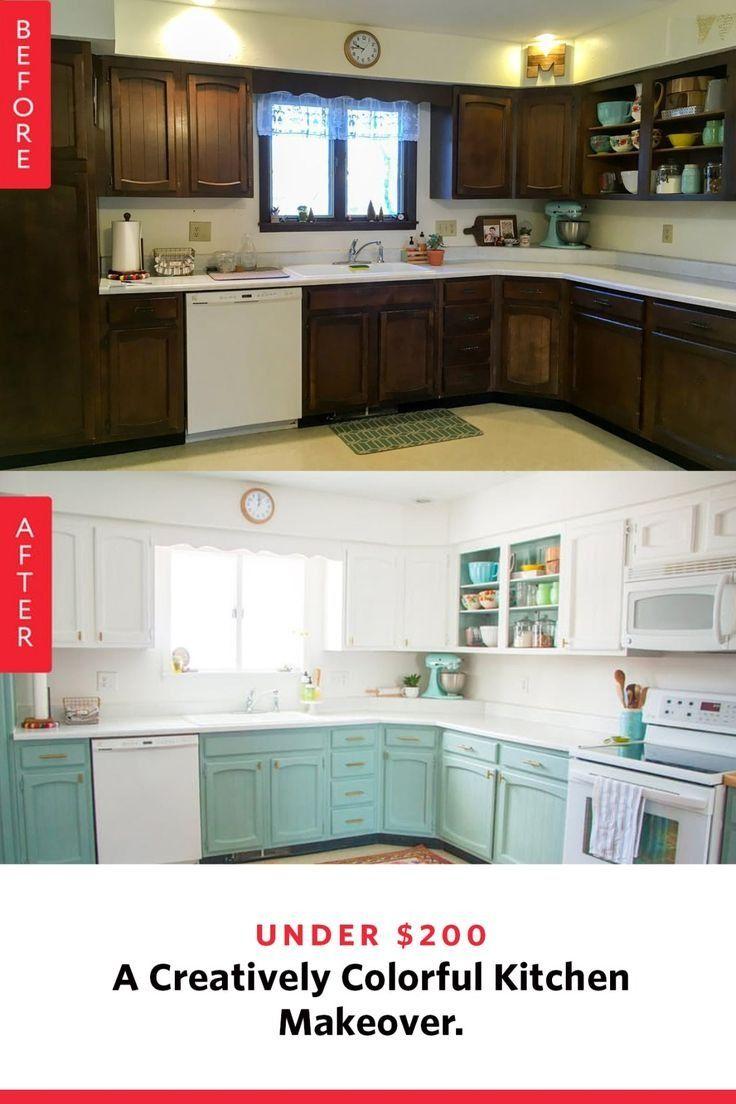 Before After An Under 200 Creatively Colorful Kitchen Makeover Budget Kitchen Remodel Kitchen Design Kitchen Makeover