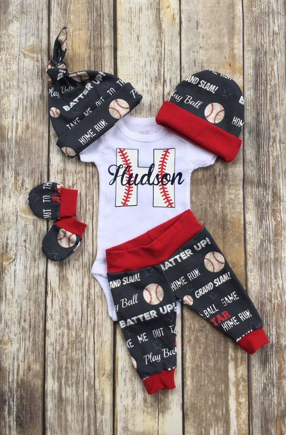Photo of Baby Boy Baseball Coming Home Outfit, Personalized Boys Outfit, Navy Red Hospital Take Home Newborn Outfit, Retro Baby Layette and Hat Set