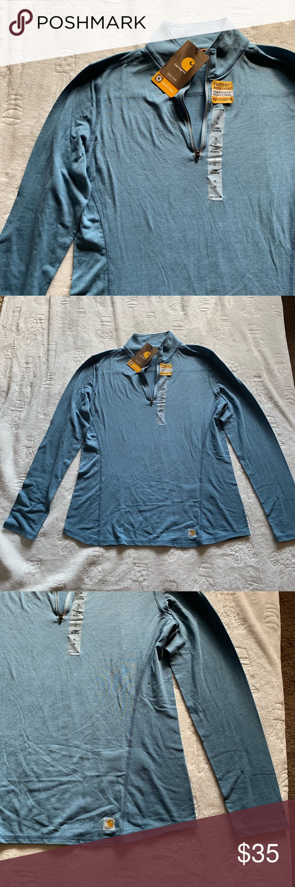 Carhartt Women's Force Half Zip Long Sleeve Carhartt Women's Force Half Zip Long Sleeve Blue Brand new with tags  Fast dry Wicks sweat  Stain Breaker - Releases stains  Fights odor  Size Medium Carhartt Tops #carharttwomen Carhartt Women's Force Half Zip Long Sleeve Carhartt Women's Force Half Zip Long Sleeve Blue Brand new with tags  Fast dry Wicks sweat  Stain Breaker - Releases stains  Fights odor  Size Medium Carhartt Tops #carharttwomen