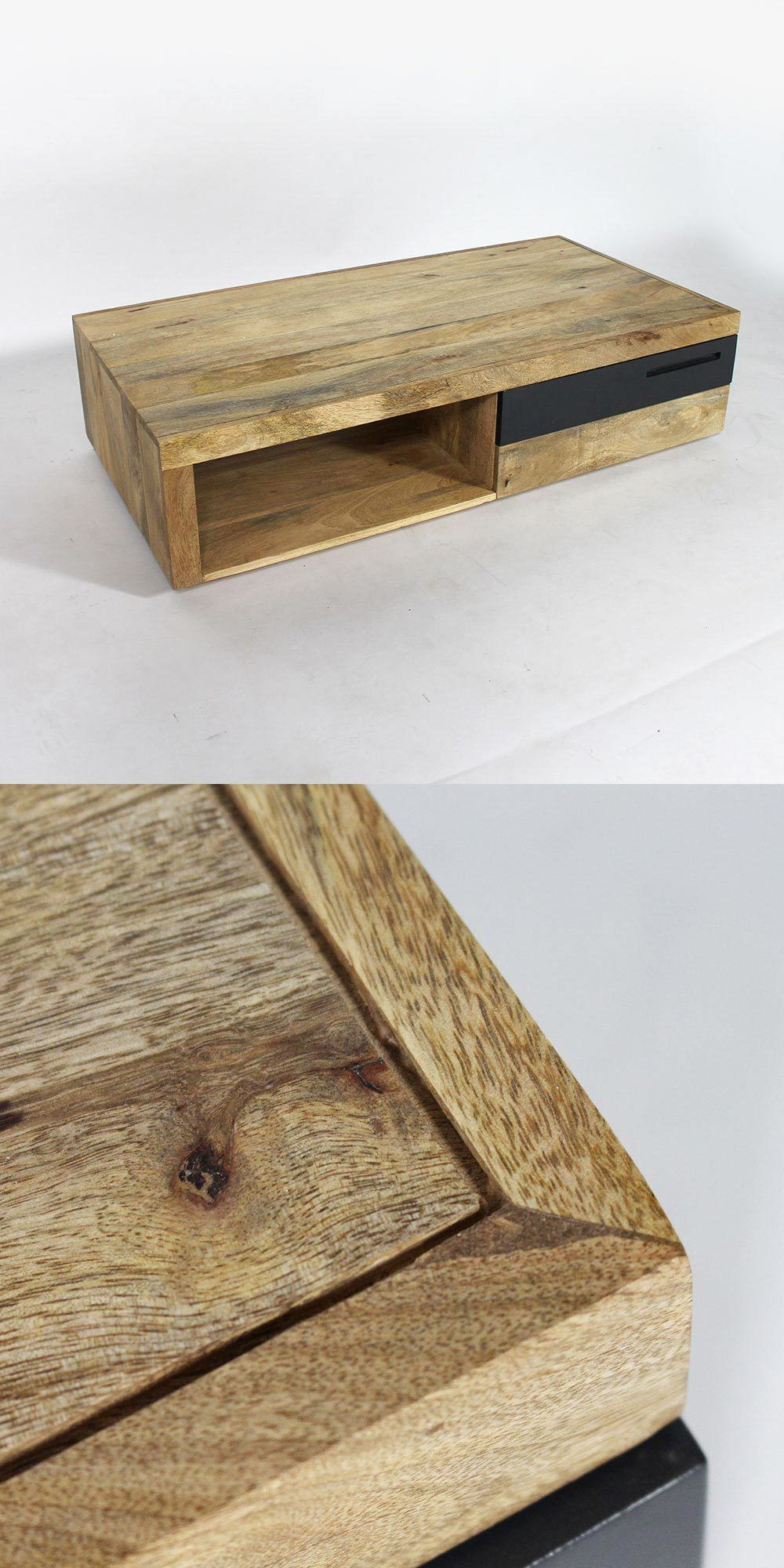 Table basse en bois massif bois de manguier clair et robuste table rectangulaire moderne et - Table basse en manguier ...