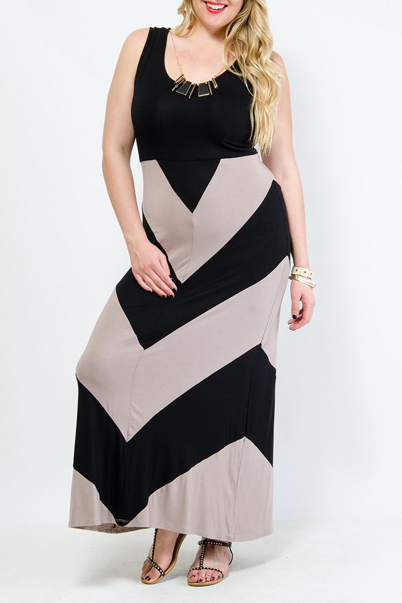 plus size maxi dress gstagelove black and taupe | clothes