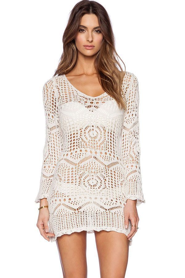 d9c743d9f7a9 Sexy Summer Casual White Dress Hollow Out Long Sleeve Swimwear Womens  Crochet Beach Wear Cover Up Dresses Swimsuit LC41125