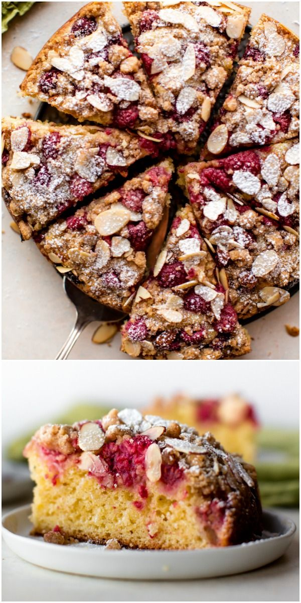Sour Cream Crumb Cake With Fresh Raspberries And Almonds Buttery And Moist Breakfast Cake Recipe On Sallysb Breakfast Cake Recipes Breakfast Cake Cake Recipes
