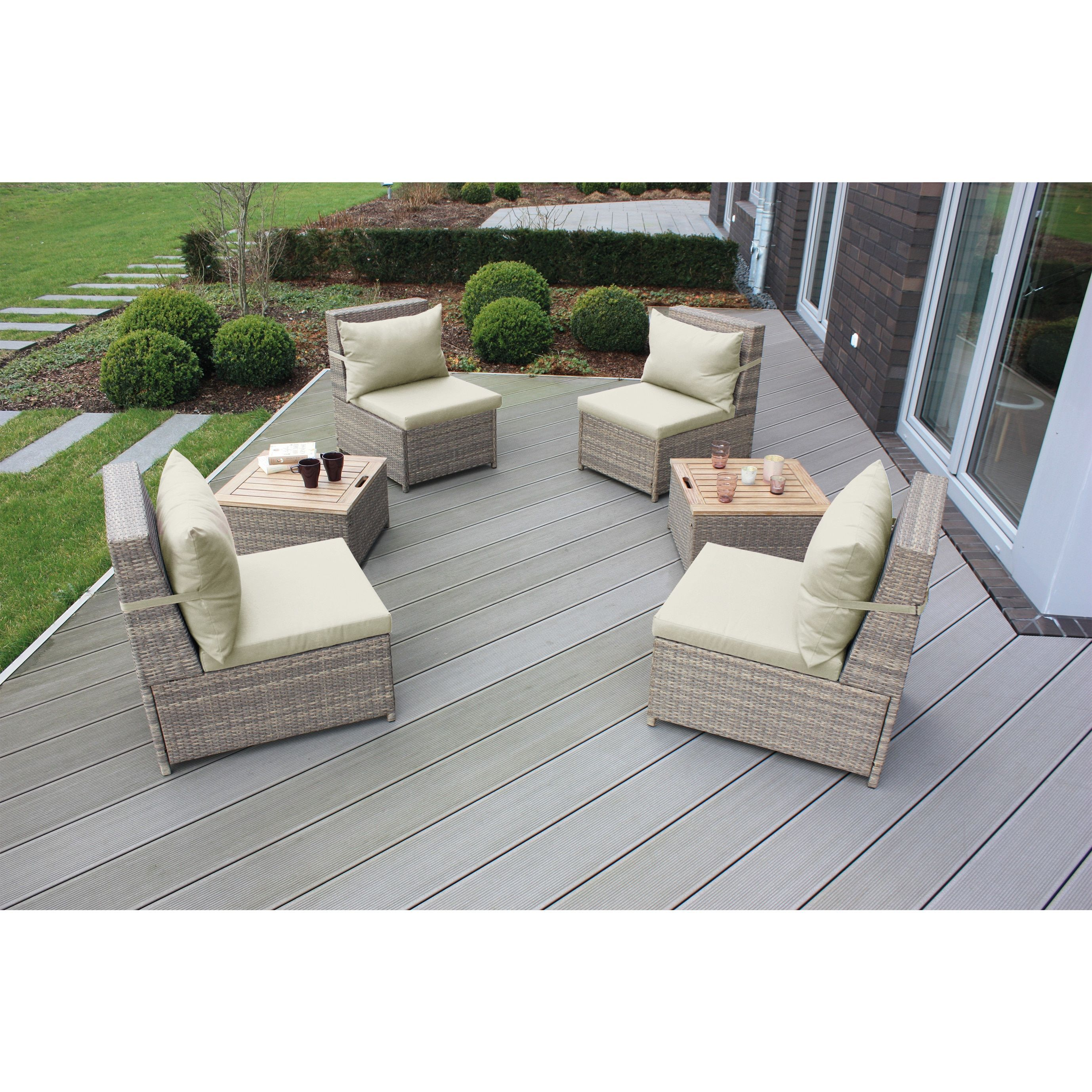 Landmann budapest 6 pc wicker patio set brown walnut patio furniture acacia