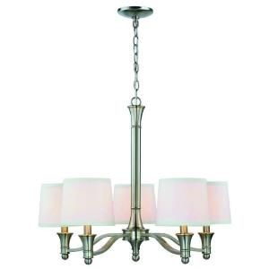 Hampton Bay 5 Light Brushed Nickel Chandelier With White Fabric Shades Es0356bn At The Home Fabric Shades Brushed Nickel Chandelier Dining Room Light Fixtures
