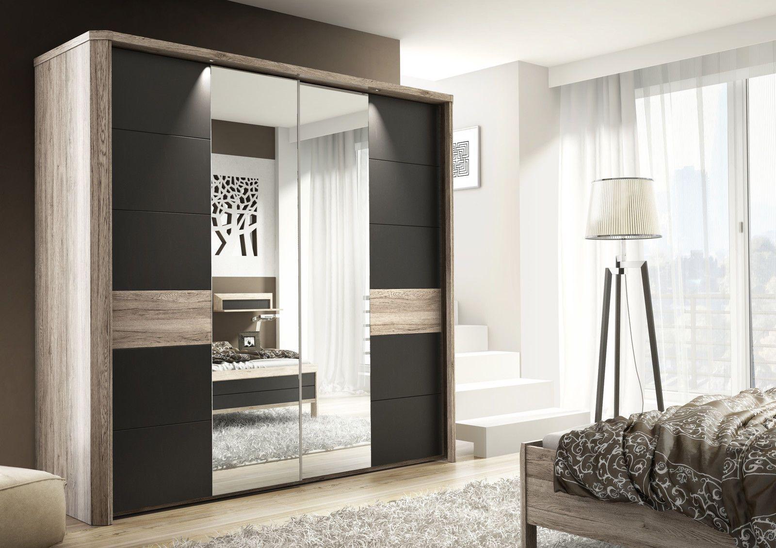 Mocha Sliding 2 Door Mirrored Wardrobe Cupboard Brown And Oak