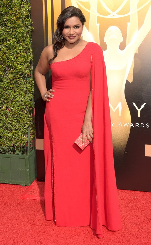 Mindy Kaling from 2015 Creative Arts Emmys  Lady in red! The Mindy Project star wears a dress from her show's costume designer Salvador Perez.