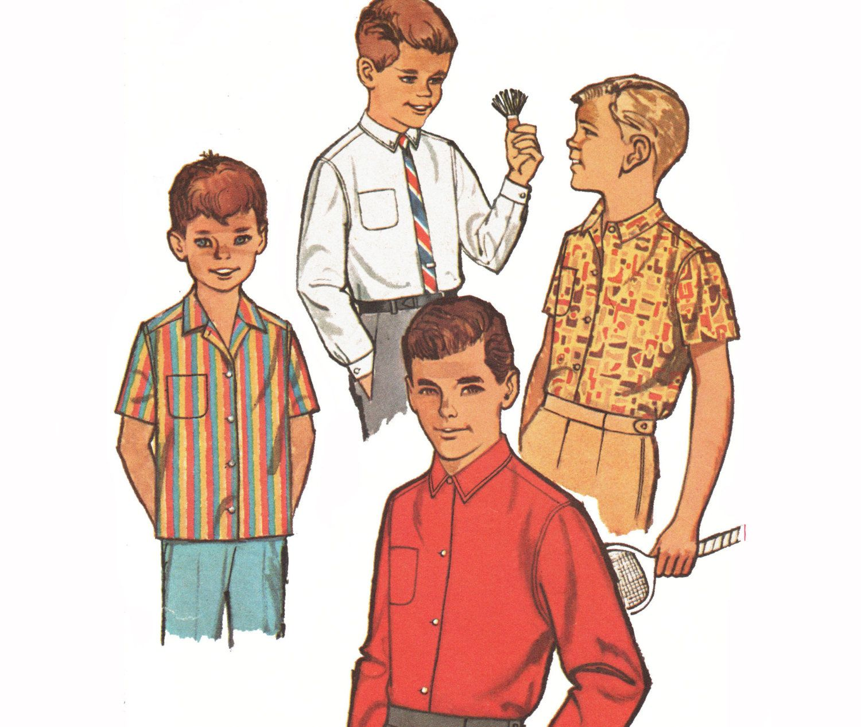 Boys camp shirt pattern button down shirt pattern dress shirt boys camp shirt pattern button down shirt pattern dress shirt sewing pattern vintage 1960s simplicity 4964 size 6 chest 24 jeuxipadfo Images