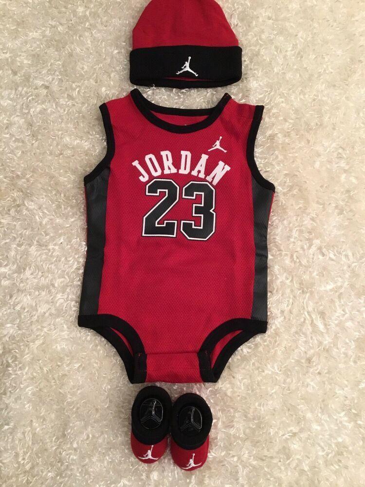 54d6f589e10258 Michael Jordan Red Black BRED 3 Piece Infant 0-6 Months SET  AirJordan