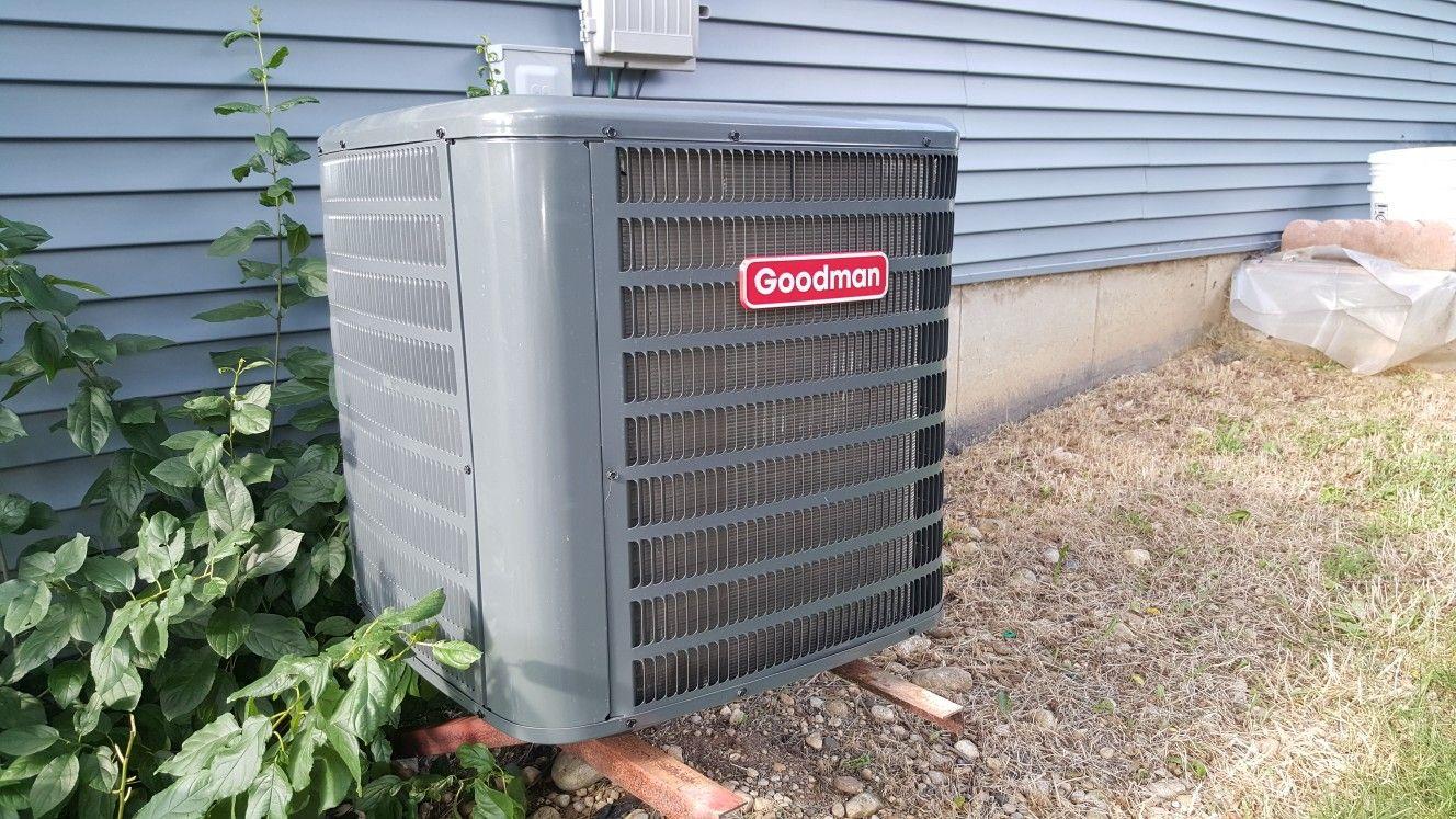 Goodman 13 seer air conditioning condenser installed in