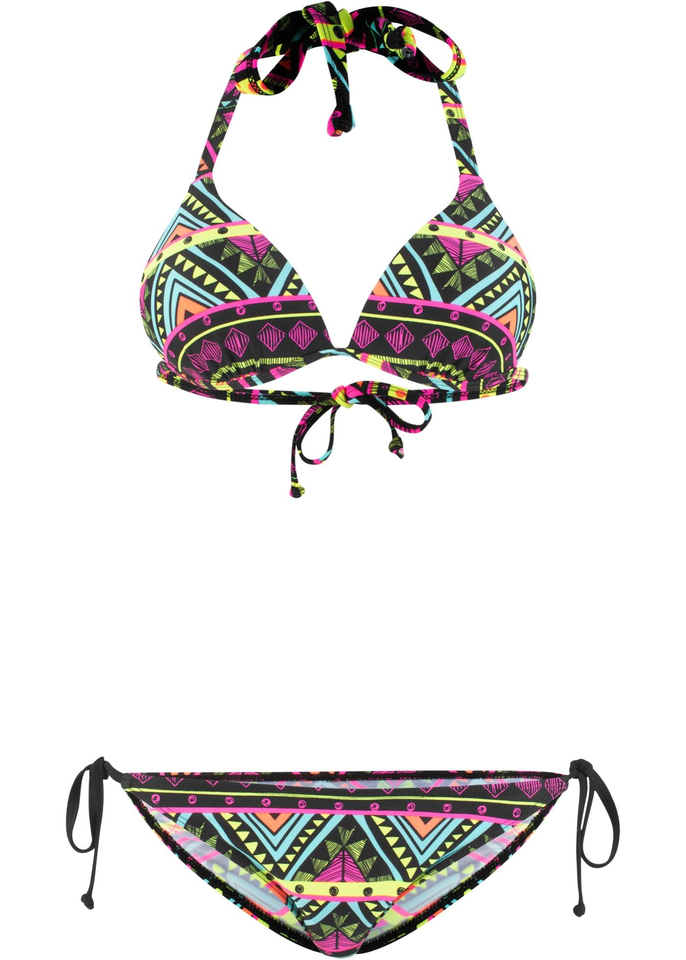 Set aus Top und Slip Bikini schwarz Bademode Beachwear Triangelbikini 2 tlg