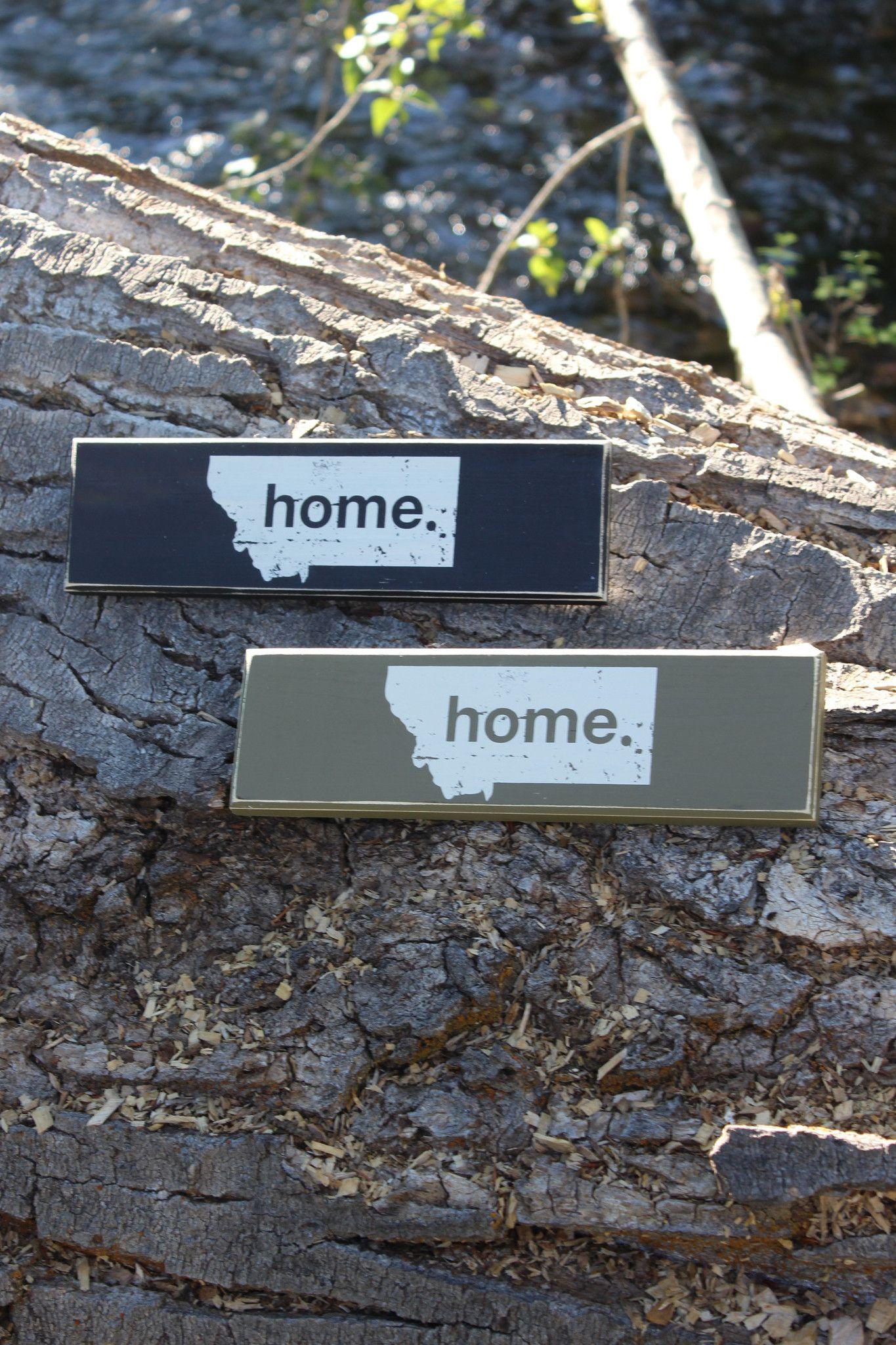 "Home 12"" Wood Signs - Black or Olive"