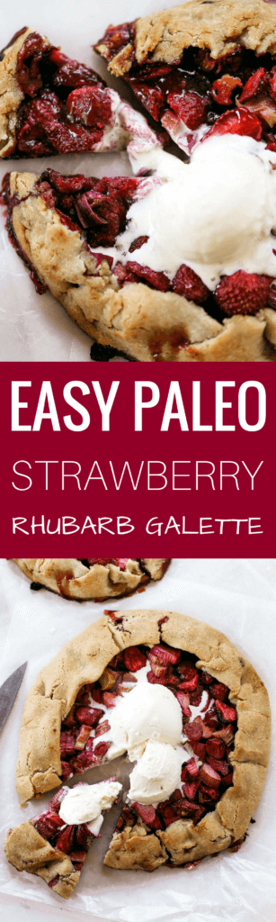 """Incredibly easy grain free & paleo strawberry rhubarb galette. A healthy and simple summer treat made with whole food ingredients. Naturally gluten free and dairy free. Sweetened without refined sugar. That sugary gooey fruit filling is to die for! Especially paired with a light and """"buttery"""" almond flour crust. Gluten free galette. Paleo fruit galette. best paleo strawberry galette. easy healthy galette recipe. paleo galette recipe. easy gluten free summer desserts. grain free pie crust…"""
