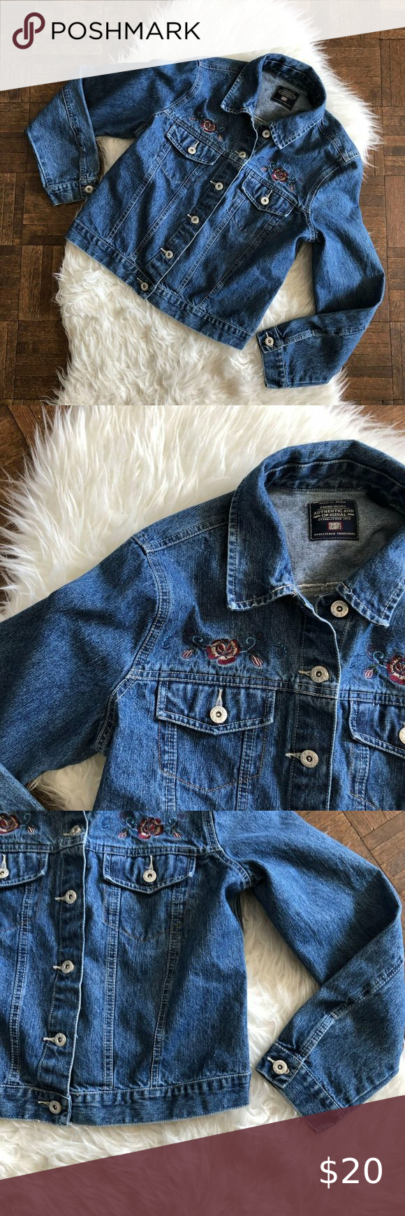 Faded Glory Medium Blue Jean Jacket Embroidered Brand Faded Glory Color Style Blue Jean Denim Jacket W Floral Embr Blue Jean Jacket Jean Jacket Blue Jeans [ 1740 x 580 Pixel ]