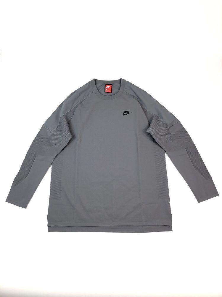 b18ed36eb3f5 Nike Sportswear Tech Knit LS Top Tech Pack 886177 036 Size L Gray Black NWT   180 888413728496