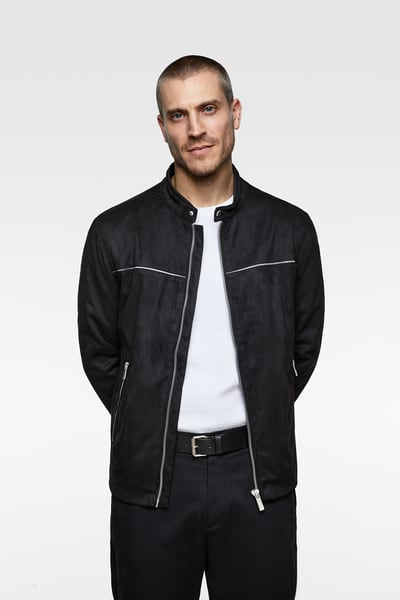 7b3335124b ZARA - Male - Piped faux suede jacket - Black - Xxl | Products in ...