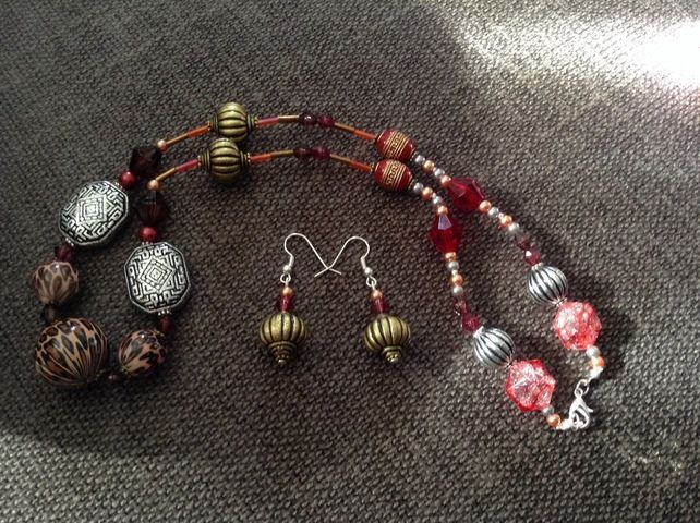 Necklace Earrings Tribal Red Beads £12.00
