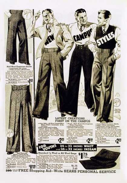 Collegiate styles for men, 1933. I know it's man pants, but i love the cut! I need to make me a pair...or 2