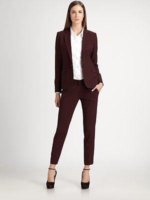 Burgundy Pant Suit Womens
