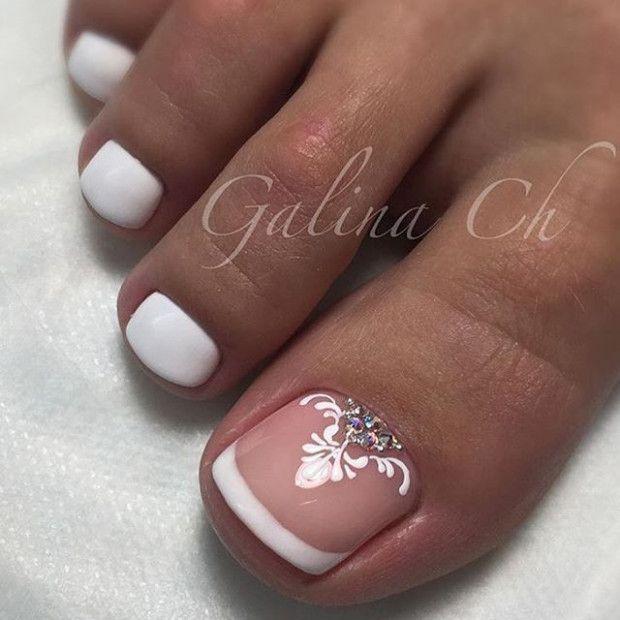 Wedding Nails Toes French Tips Pedicure Nail Designs Gel Nails French French Toe Nails