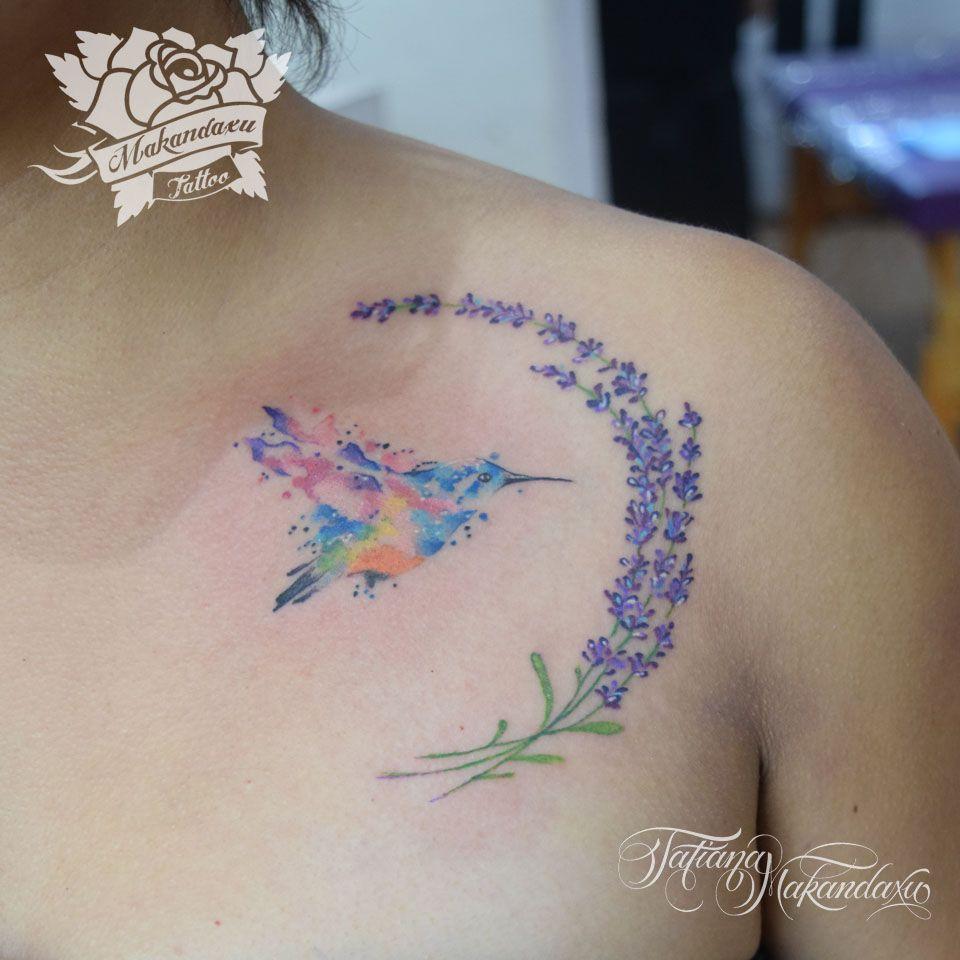 De colibri en la espalda significado tatuaje colibri tatuaje tattoo - Tattoo De Colibri En Acuarela Con Media Luna De Lavandas