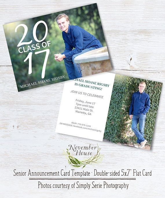 Senior Graduation Card Graduation Announcement Template