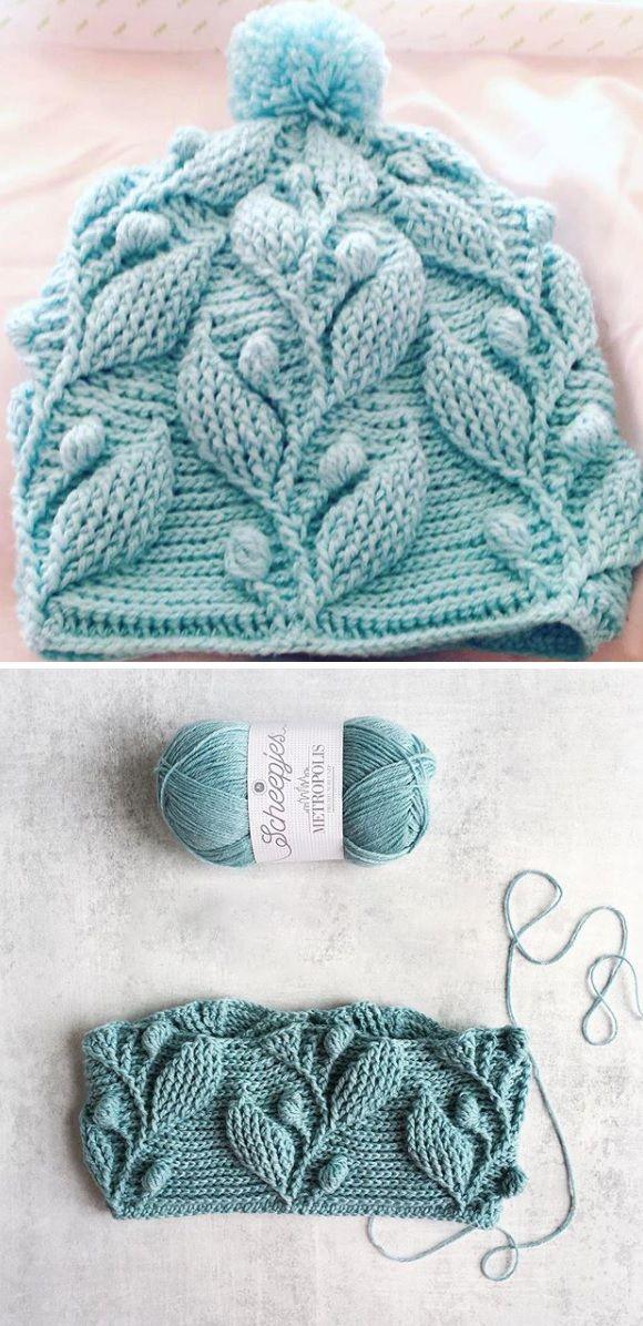 Crochet Pattern – Beanie with Leaves – Design Peak