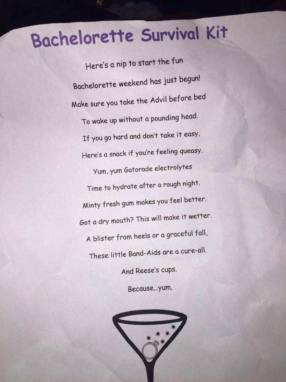 Bachelorette survival kit poem | Love in 2019 ...
