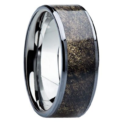 8 Mm Unique Mens Wedding Bands In Titanium With Buckeye Wood Inlay