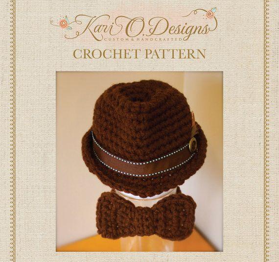 PDF Crochet Patterns Classic Fedora and Bow Tie   Ganchillo patrones ...