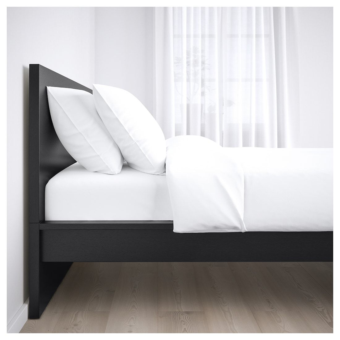 Malm Bed Frame High Black Brown Luroy Queen With Images