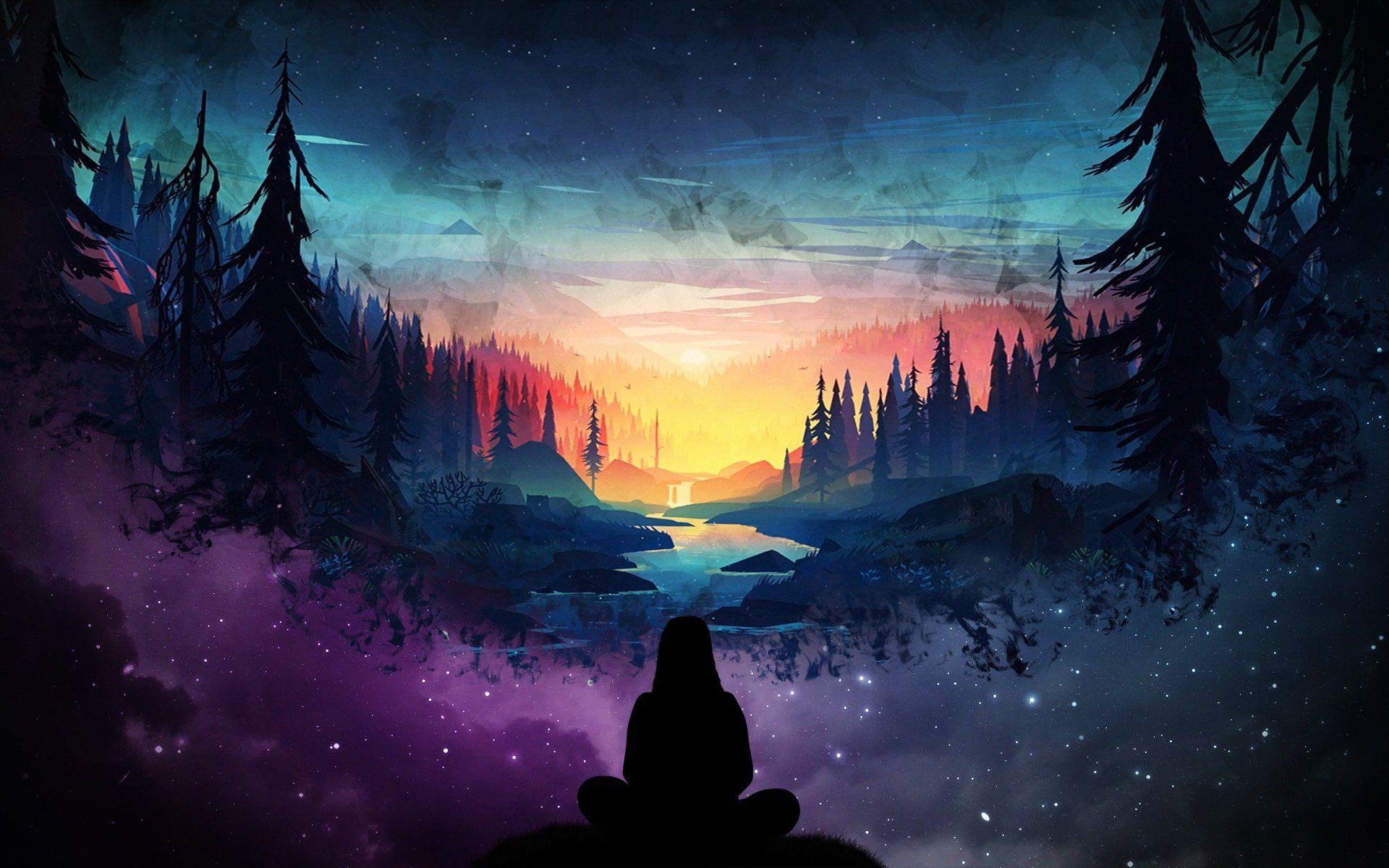Artistic Landscape Nature River Sunrise Forest Girl