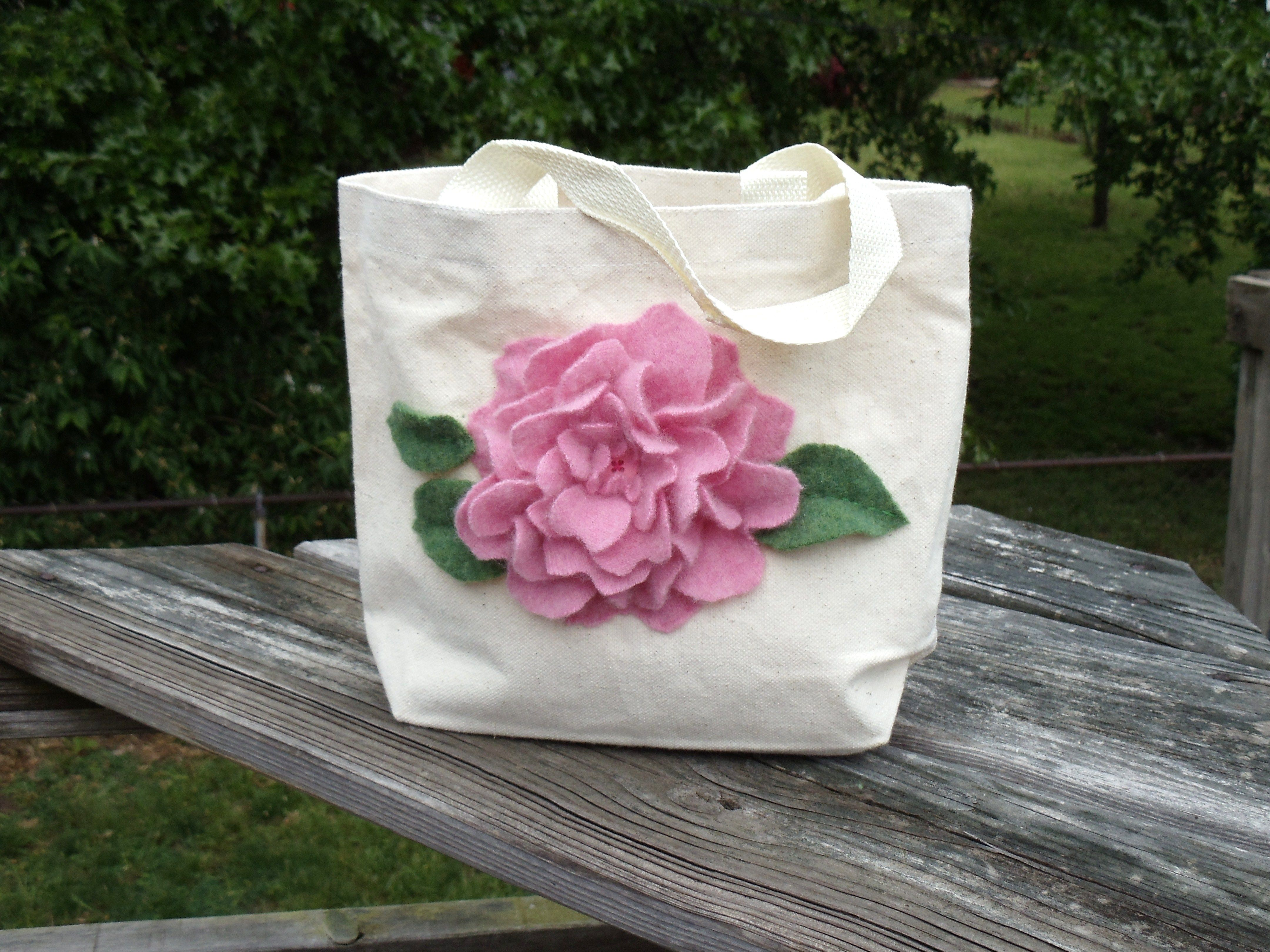 cashmere sweater felt flower on a tote bag!
