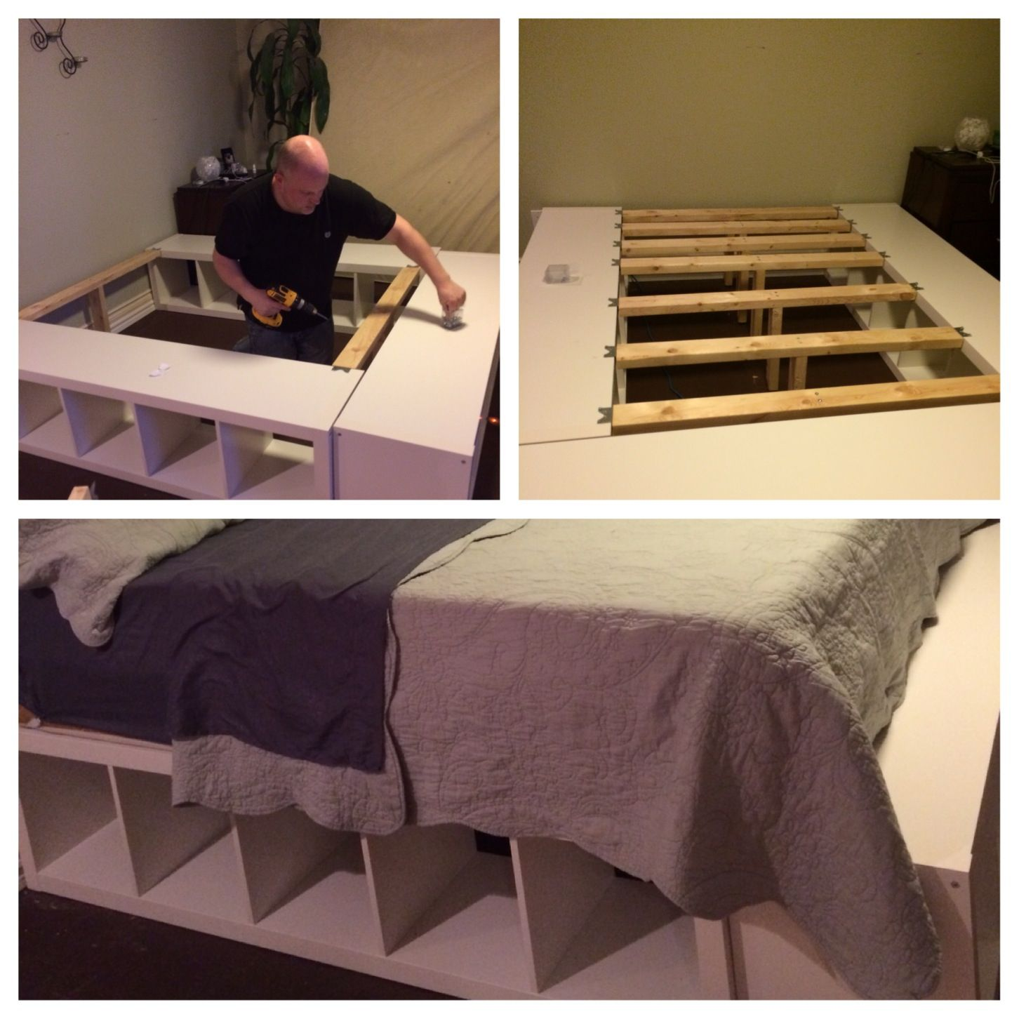 DIY king size bed made from a few 2x4s cut to fit the space between ...