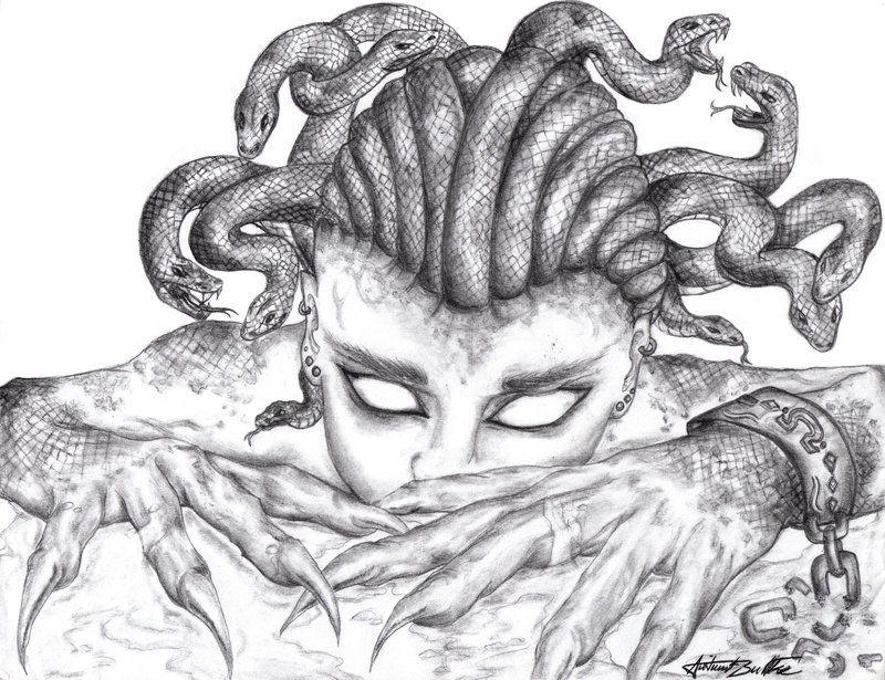 медуза горгона рисунки держал