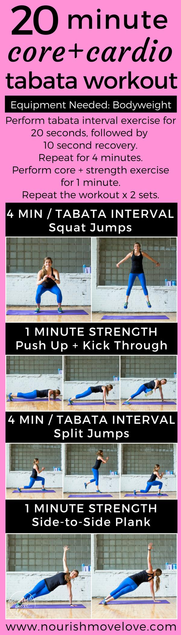 20-Minute Bodyweight Tabata Workout | Nourish Move Love
