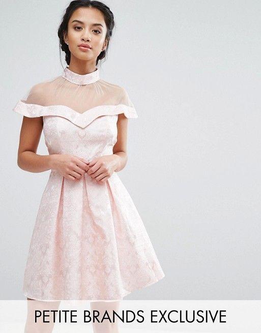 Chi Chi London Petite Mesh High Neck Off Shoulder Mini Prom Dress In ...