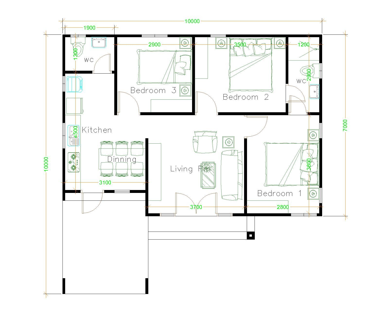 House Design 10x10 With 3 Bedrooms Hip Roof House Plans 3d Denah Rumah Denah Desain Rumah Desain Rumah