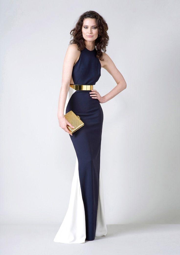 Vestidos azul marino y dorado