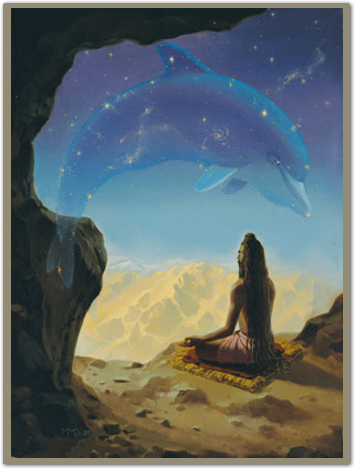 Shishumara  oil on canvas (1997)  55 x 40 cm      Scriptural reference:    This great machine, consisting of the stars and planets, resembles the form of a shishumara [dolphin] in the water. It is sometimes considered an incarnation of Krishna, Vasudeva. Great yogis meditate upon Vasudeva in this form because it is actually visible.    (Srimad-Bhagavatam 5.23.4)