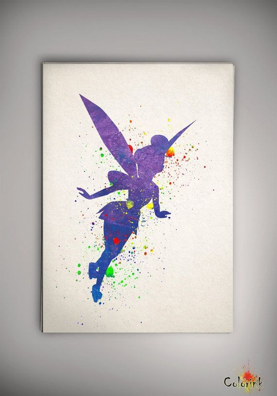 Tinker Bell Disney Watercolor Nursery Art For Girl Wedding Gift Idea Girls Wall Art Home Decor