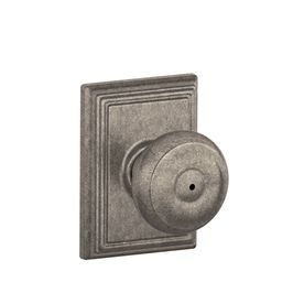Schlage Georgian Distressed Antique Nickel Round Push Button Lock  Residential Privacy Door Knob