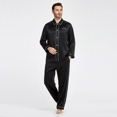 22 Momme Unique Silk Pajamas Set with Double Row Pipping
