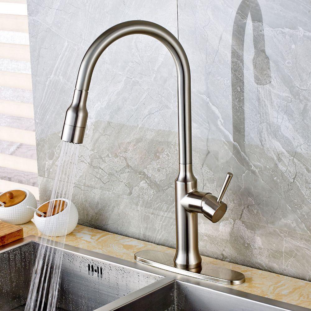 Deck Mount Pull Out Sprayer Kitchen Sink Faucet Brushed Nickel Unique Brushed Nickel Kitchen Faucet Design Ideas